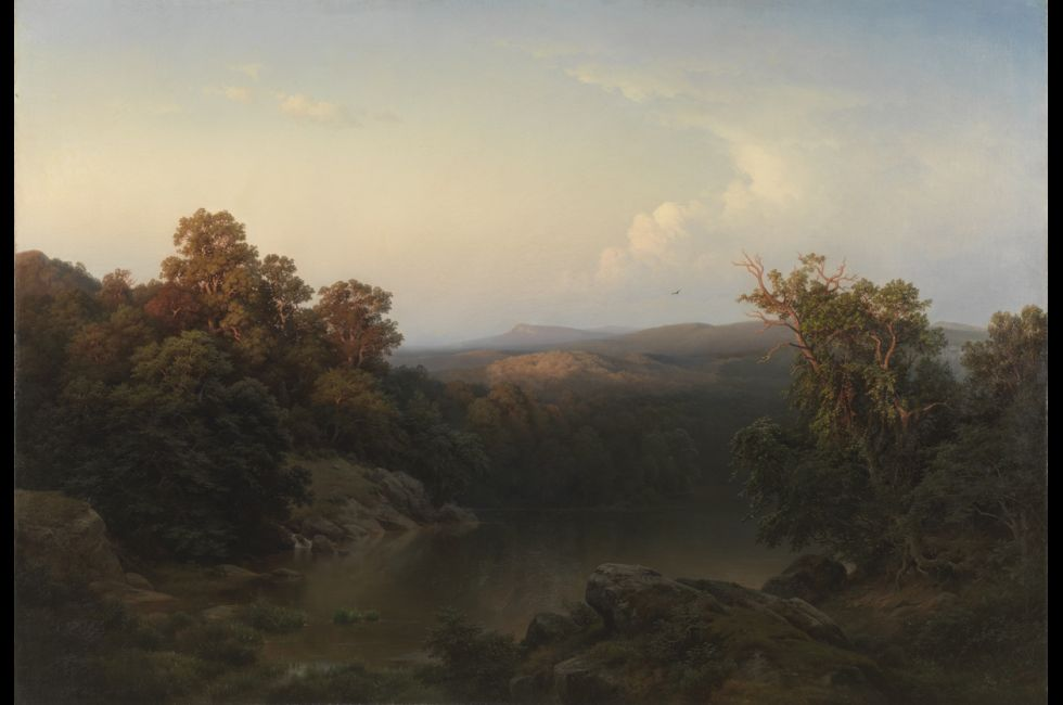 """Paul Weber, """"Landscape: Evening"""" (1856). Oil on canvas, 60 1/4 x 86 inches."""