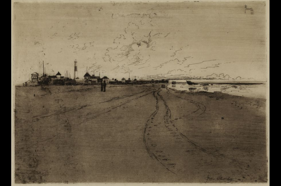 "Joseph Pennell, ""Below Atlantic City"" (1881). Etching on cream Japanese tissue paper. Gift of the artist."