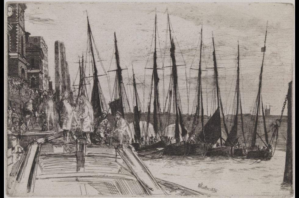 "James Abbott McNeill Whistler, ""Billingsgate"" (1859). Etching and drypoint on blue laid paper. Gift of Mr. and Mrs. Alfred G. B. Steel."