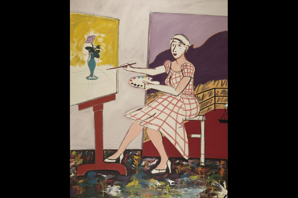 """Joan Brown, """"Self-Portrait"""" (1977). Oil on canvas, 84 x 72 inches. Museum purchase. © Estate of Joan Brown, courtesy of George Adams Gallery, New York."""