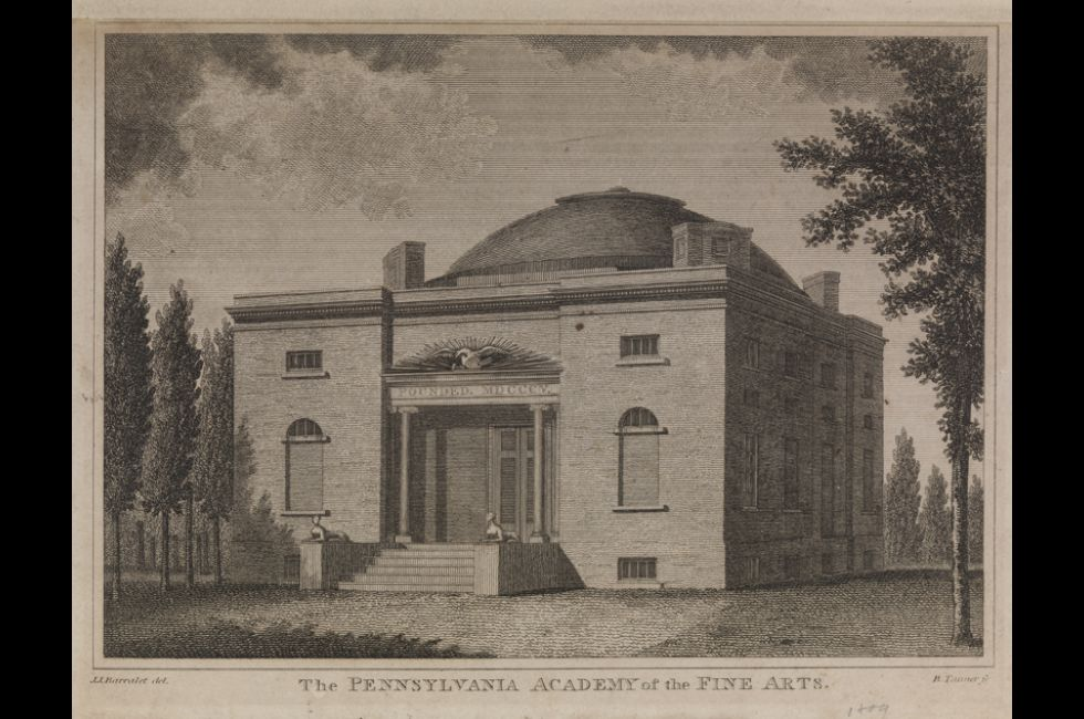 Benjamin Tanner after J.J. Barralet, <em>The Pennsylvania Academy of the Fine Arts </em>[first building], 1809, engraving and etching on gray wove paper, 4 5/8 x 6 1/2 in., Gift of Mrs. Edgar P. Richardson, 1986.29.2