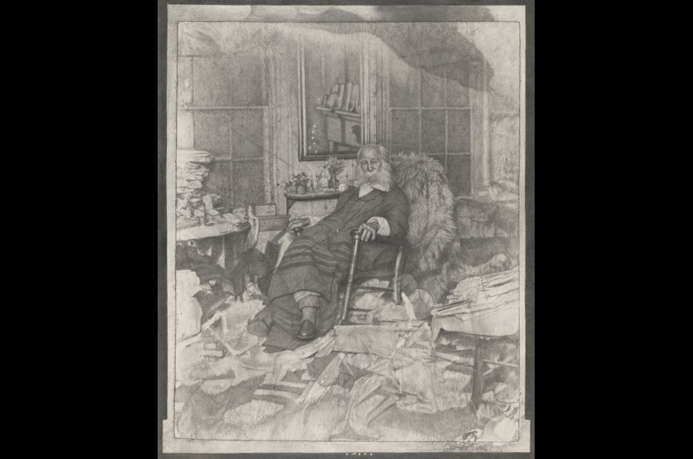 "Mark Stockton, ""The Poet in His Bedroom or Walt Whitman in repose amongst a chaos of papers in Camden in 1891"" (2018). Graphite on Arches paper, 52 x 42 inches (framed), 50¾ x 40¾ inches (unframed). Museum Purchase (2018.43). © 2018, Mark Stockton."