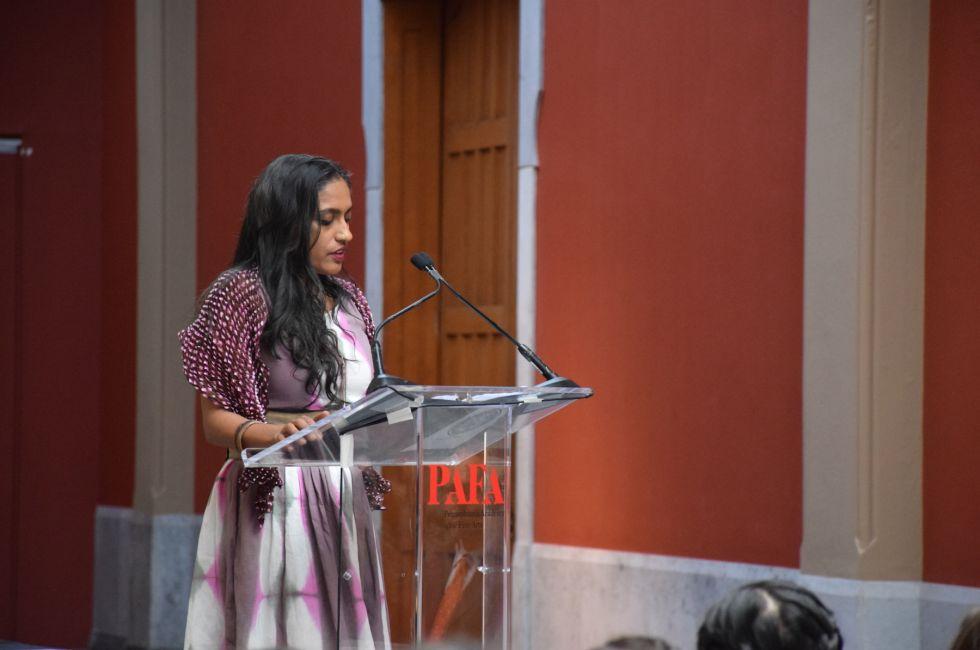Artist Chitra Ganesh addresses the 214th graduating class of PAFA.