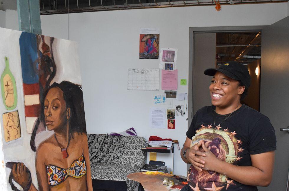 Artist Dara Haskins in her studio