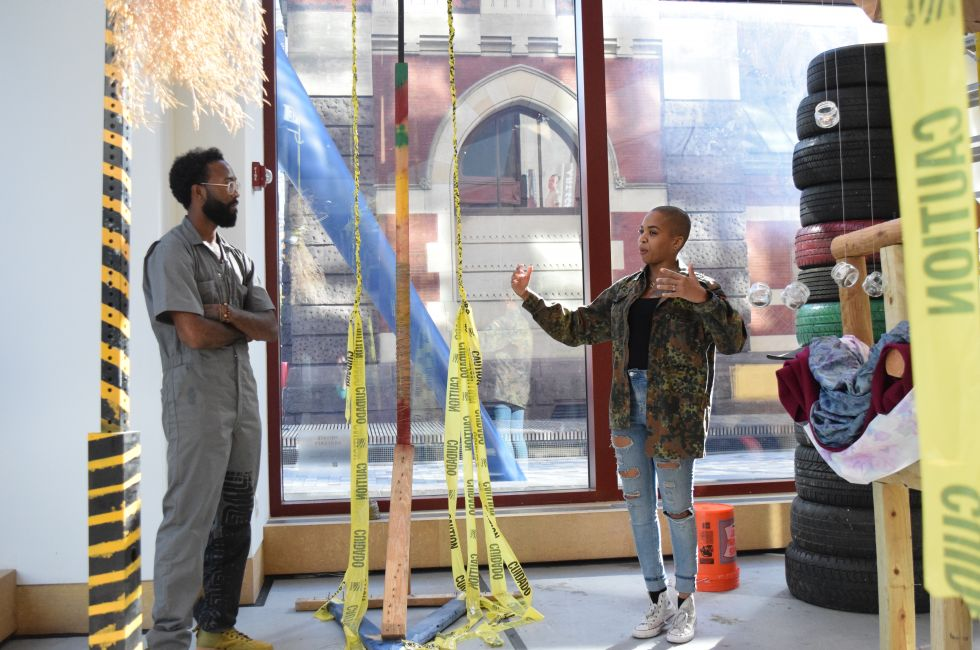 Rod Jones II (MFA '19) and visiting artist Doreen Garner in the Broad Street Studio.
