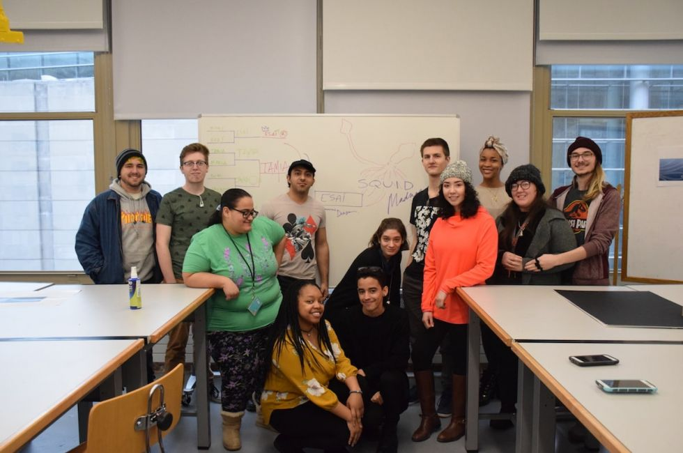 """Students in the Fall 2019 """"Digital Print and Web Design"""" class taught by Stephanie Reyer."""