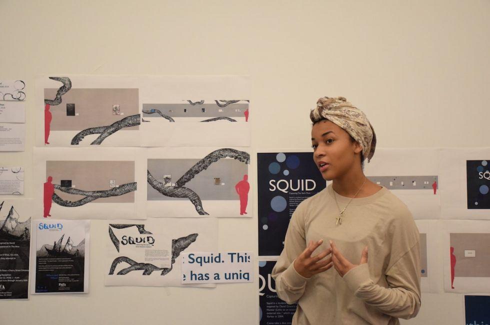 Tamia Alston-Ward presents their design proposal.