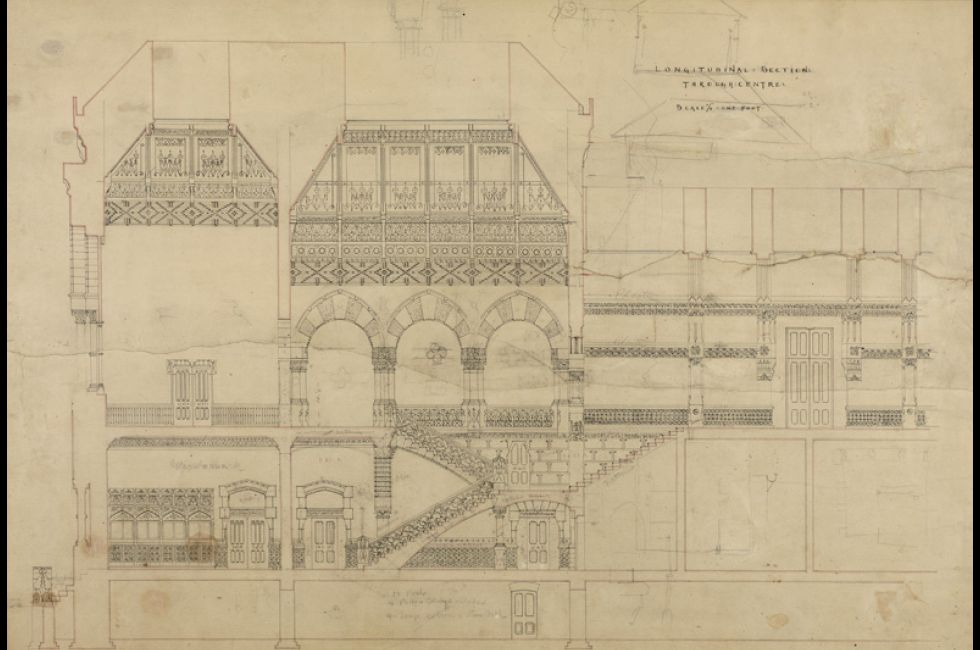 Frank Furness and George Wattson Hewitt, <em>LONGITUDINAL:SECTION:THROUGH:CENTRE</em>, 1873-76, Black, blue, violet, and red wash on paper with pencil annotations, 26 1/4 x 38 1/4 in., 1876.6.12