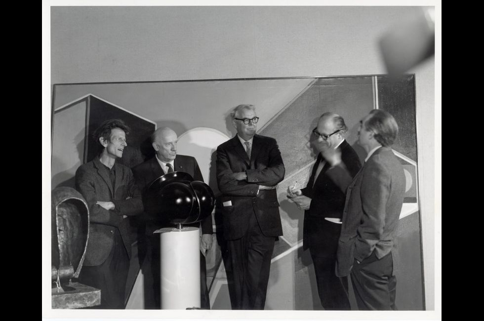 1968 Annual Exhibition jury (L-R: David Hare, Theodore Roszak, [Unidentified Person], Will Barnet,Arthur Osver)