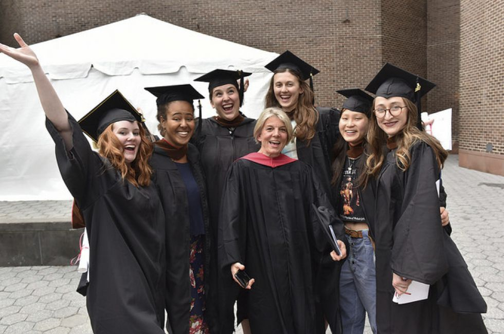 Ellie Robley and PAFA/Penn graduates with Dean of Students Anne Stassen