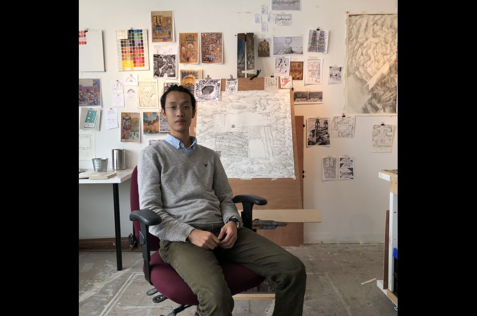 Ha Ning Pham (MFA '18) in the studio.