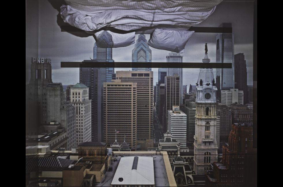 "Abelardo Morell, ""Camera Obscura: View of Philadelphia from Loews Hotel Room #3013 with Upside Down Bed"" (2014)"