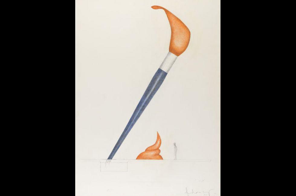 Claes Oldenburg,<em> Paintbrush</em>, 2010, Pencil, colored crayon, 40 x 30 in., Collection Claes Oldenburg, Photo courtesy the Oldenburg van Bruggen Foundation Copyright 2010 Claes Oldenburg. CO-9996