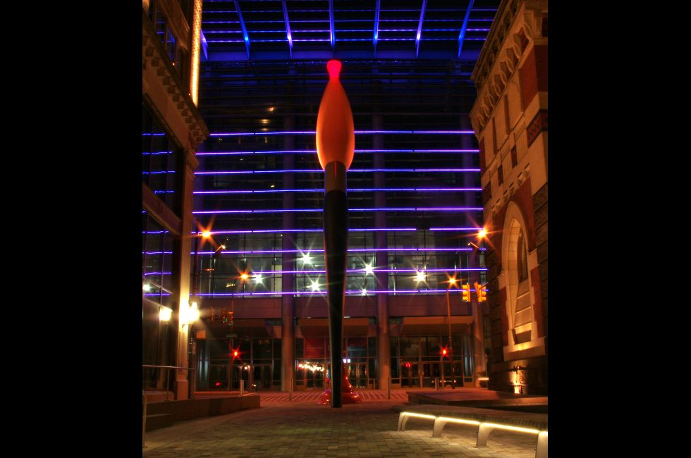 <em>Paint Torch</em> by Claes Oldenburg, facing Pennsylvania Convention Center