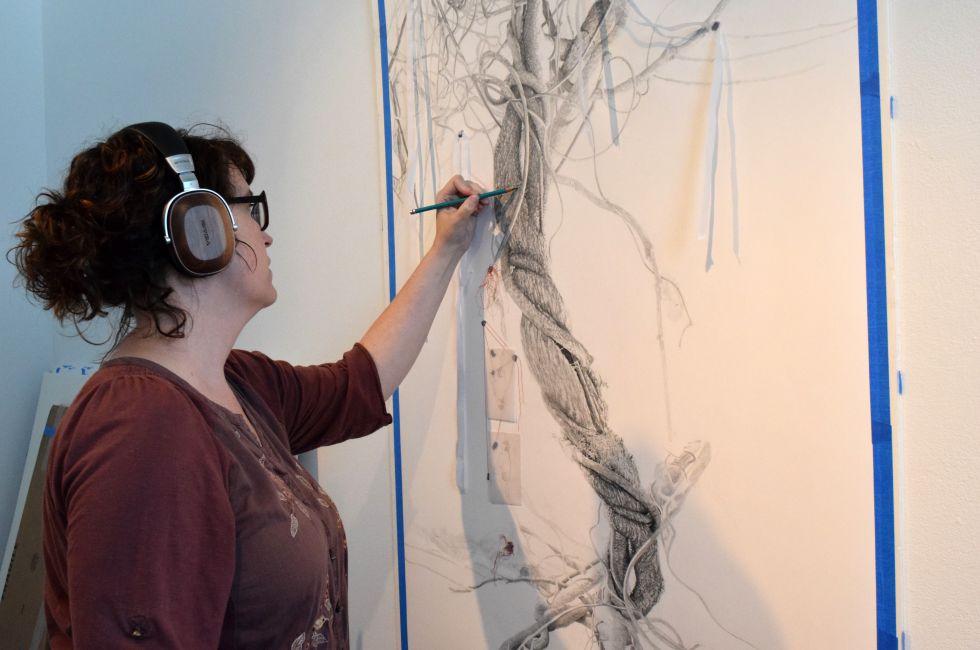Anne Greenwood (MFA '19), working in the studio.