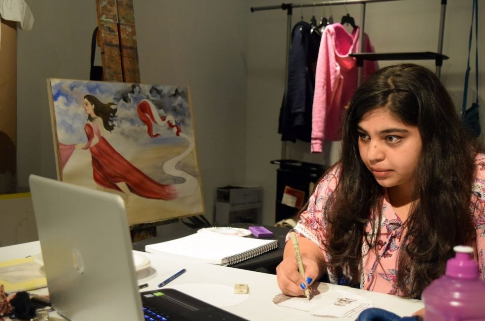Bhoomi Patel (MFA '20) at work in her studio space.