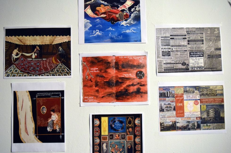 One of the walls in Bhoomi Patel's (MFA '20) studio.