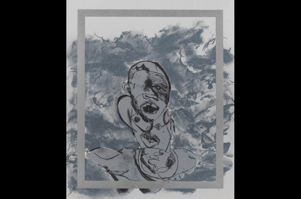 """Jonathan Lyndon Chase, """"Forehead Kiss"""" (2019). Stone and plate lithograph on Somerset Satin white paper, digital print on brown paper bag, and CDR with seven soundtracks, edition of 10. In collaboration with Master Printer, Peter Haarz, at the Brodsky Center at PAFA."""