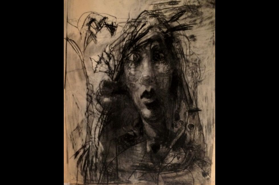 Mark Blavat, 'Our Shroud.', charcoal on paper, 40 in x 30 in, 2004