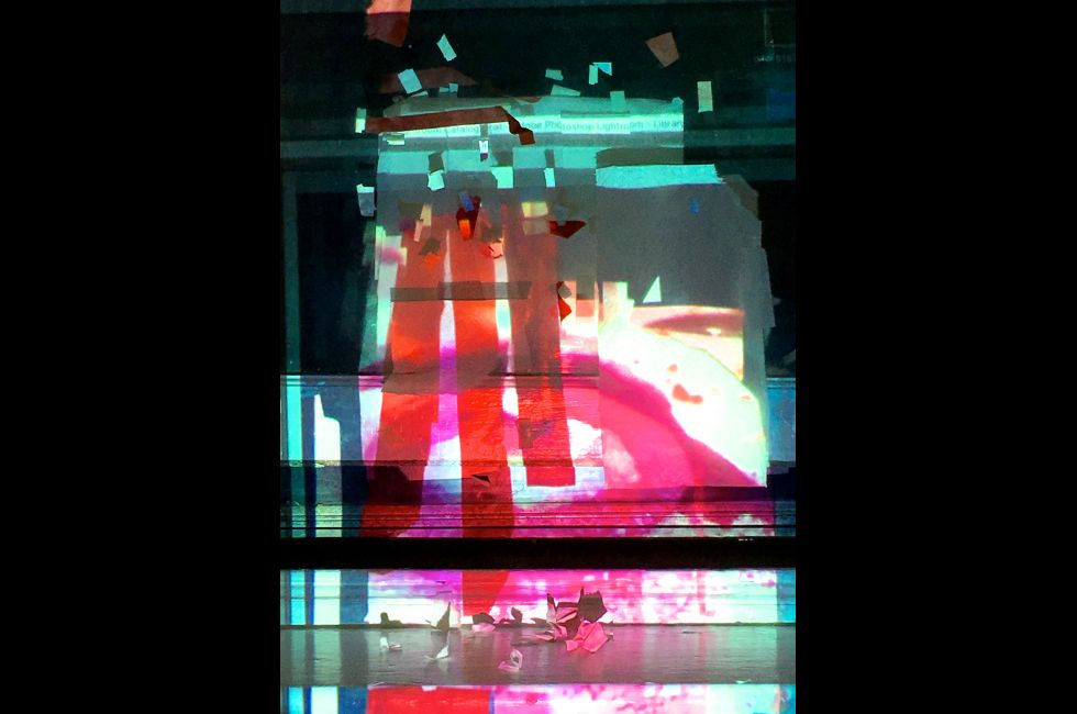 <em>night window, lipstick traces and sea birds feeding, 11:38pm, 8.10.16</em>cut papers, projected and reflected light, tape and glass digital photograph, 2016