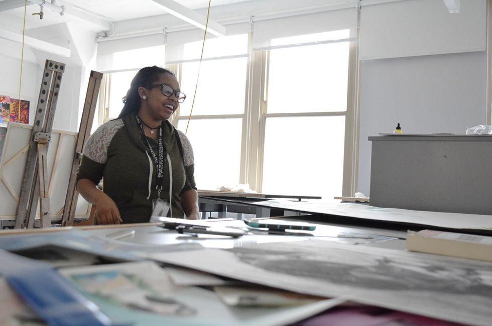 Kaisha Dukes (BFA '20) in the gang studio.