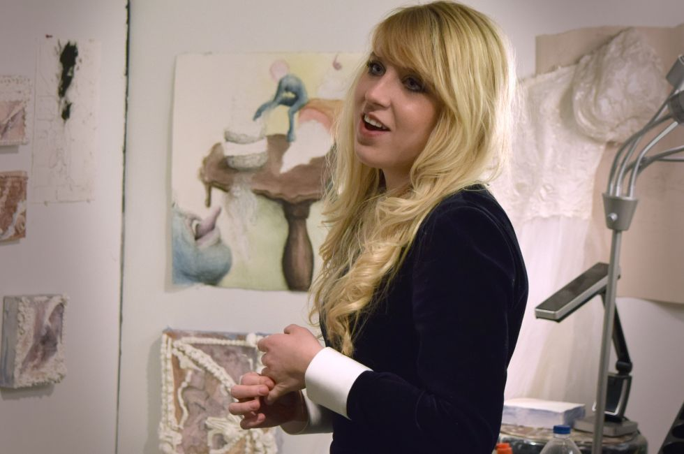Katie Weidlein (MFA '19) during Open Studio Night 2018.