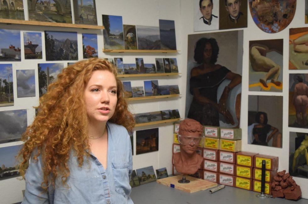 Kelly Micca (BFA '20) in the studio.