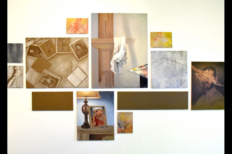 Artwork in Kevin Hetzell's studio space.