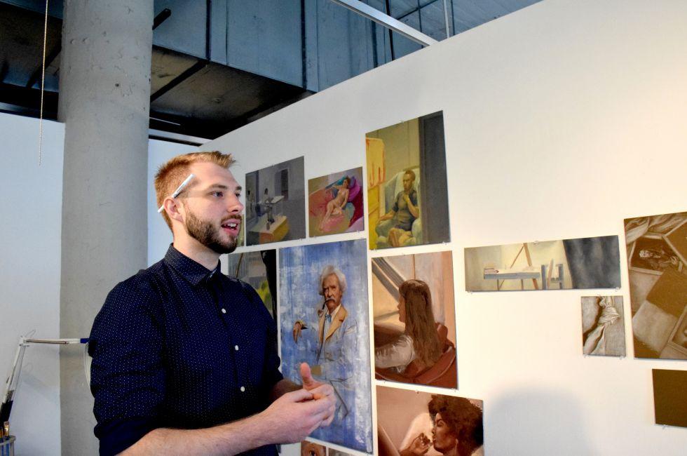 Kevin Hetzell (MFA '20) in the studio.