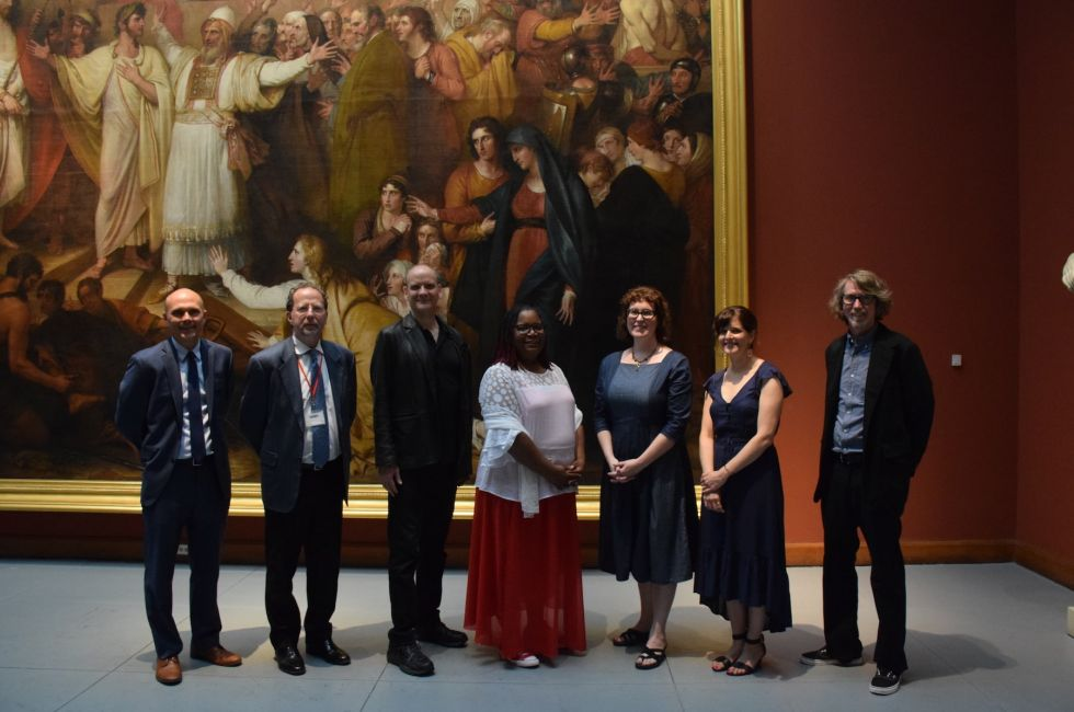 2019 Low-Residency MFA Commencement (L-R): School of Fine Arts Dean Clint Jukkala, PAFA President and CEO David R. Brigham, Kevin Richards, Lyn Townes '19, Anne Greenwood '19, Alexis Granwell, and David Dempewolf.