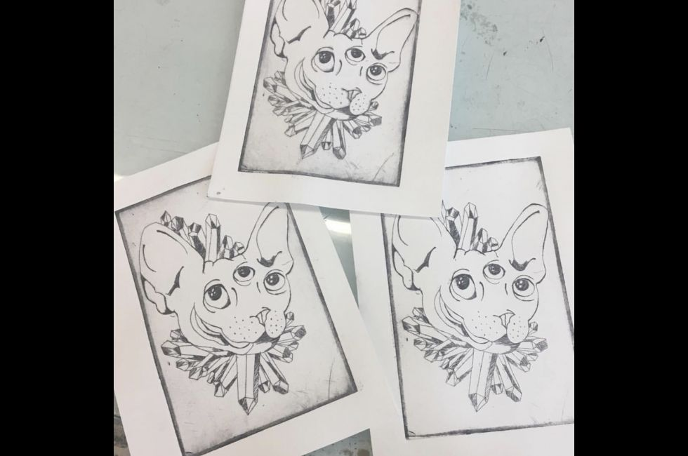Printmaking work by Luna Garisto (BFA '21).