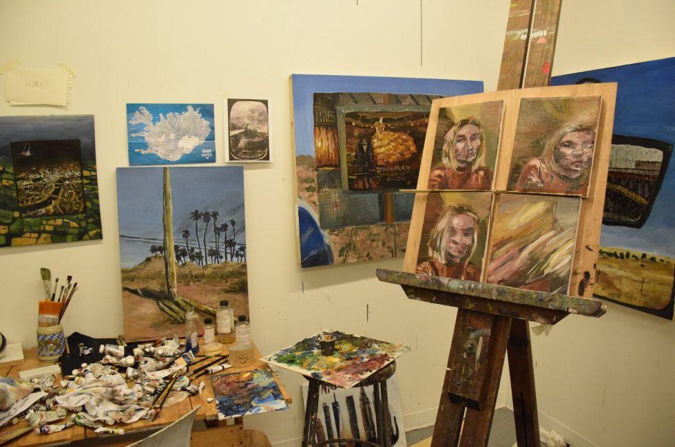 In Natalie Klett's studio.