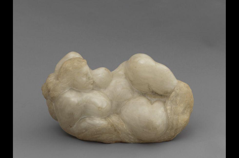 "John Rhoden, ""Cloud Woman""(1947).Alabaster,10 ¼ x 20 ½ x 10 inches."