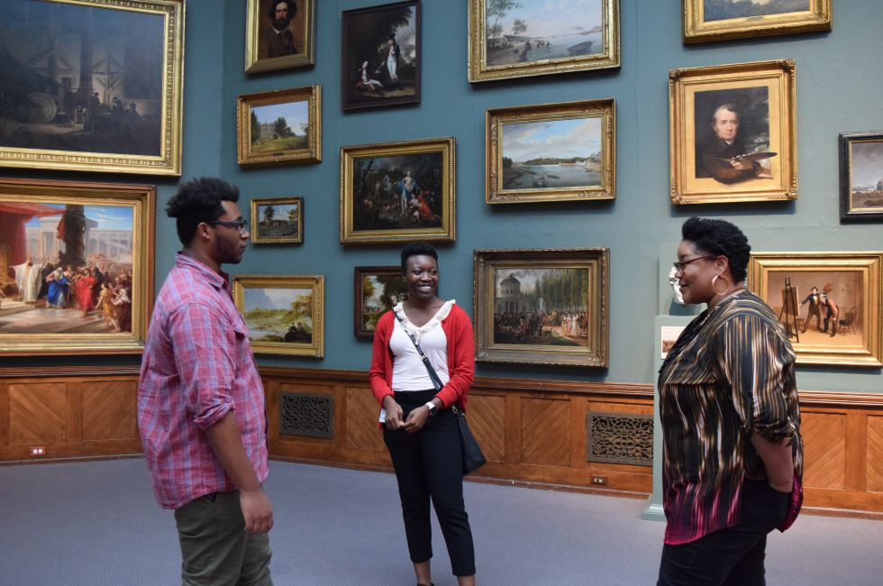 Dunkley Fellowship recipients T.K. Smith and Nzinga Simmons join Rhoden Collection curator Dr. Brittany Webb in PAFA's galleries.