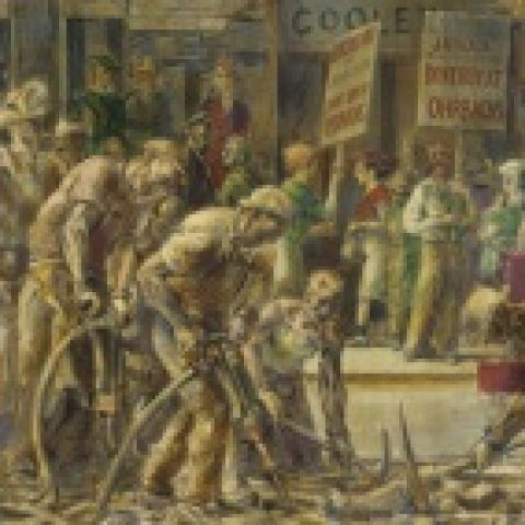 Reginald Marsh, End of 14th Street Crosstown Line, 1936, Egg tempera on composition board, 24 x 36 1/8 in., Henry D. Gilpin Fund, 1942.7.