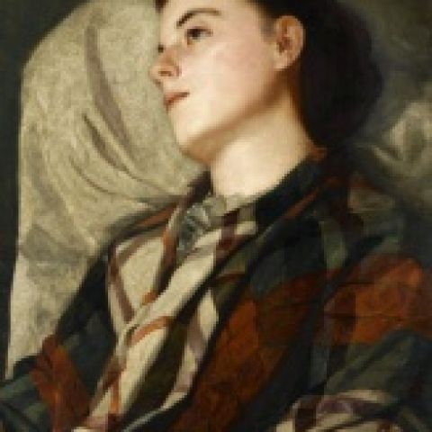 Susan Macdowell Eakins (1851-1938), Girl in a Plaid Shawl, ca. 1880-85, Oil on canvas, 28 1/16 x 21 in., Charles Bregler's Thomas Eakins Collection, purchased with the partial support of the Pew Memorial Trust and the Henry C. Gibson Fund, 1985.68.39.6