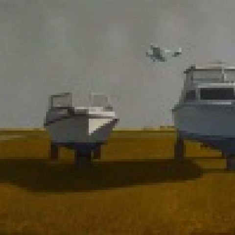 Ted Walsh, Boats at the Airport, 2014, oil on panel, 37 x 81 in.