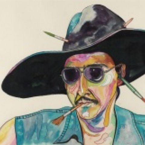 Luis Cruz Azaceta, Self-Portrait with Phony Hat, 1980, colored ink and pencils on paper, 22 1/8 x 30 in, Robert and Frances Coulborn Kohler Collection, 2013.10.2