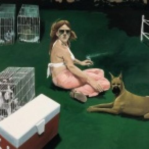 Woman Surrounded by Dogs, 1979-80, Oil on linen, 65 x 96 in., Hall Art Foundation