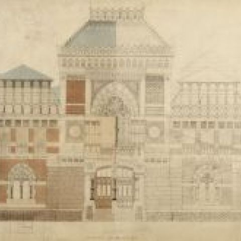 Frank Furness and George Wattson Hewitt, ELEVATION:ON:BROAD:STREET:, 1873-76, Black ink, watercolor wash, and pencil on white paper on mount, 25 1/2 x 34 1/2 in., 1876.6.8