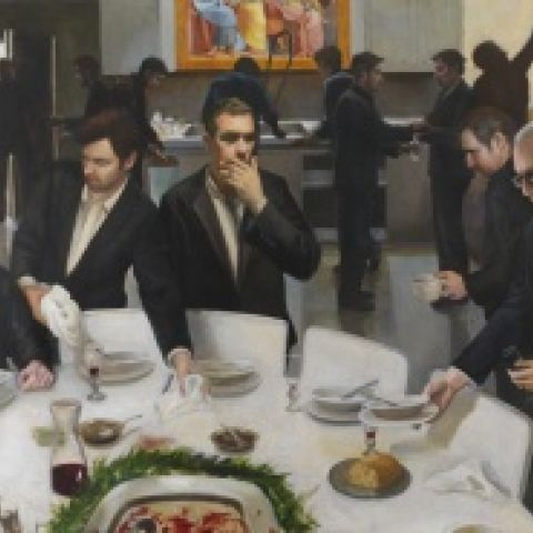 Read Lockhart, Clearing up After the Last Supper, 2014, oil on canvas, 68 x 80 in., Judith McGregor Caldwell Purchase Prize, 2014.14