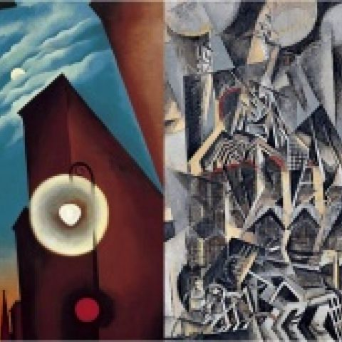 Two paintings, one by Georgia O'Keefe, one by Max Weber