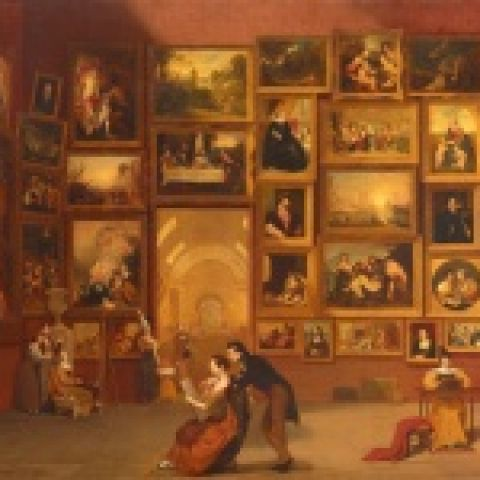 Samuel F. B. Morse, Gallery of the Louvre, 1831-33, Oil on canvas, 73 ¾ x 108 in., Terra Foundation for American Art, Chicago, Daniel J. Terra Collection, 1992.51