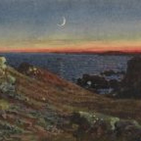 William Trost Richards, An Essay at Twilight, Newport, 1877, watercolor on paper, 3 5/16 x 5 in., Gift of Dorrance H. Hamilton in memory of Samuel M.V. Hamilton, 2008.5.22