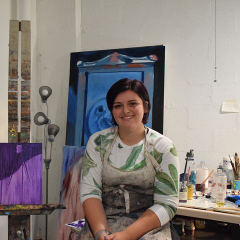 Claudia Valenti (MFA '20) in her studio