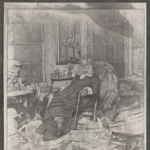 "Mark Stockton, ""The Poet in His Bedroom or Walt Whitman in repose amongst a chaos of papers in Camden in 1891"" (2018). Graphite on Arches paper, 52 x 42 inches (framed), 50 x 40 inches (unframed). Museum Purchase (2018.43)  2018"