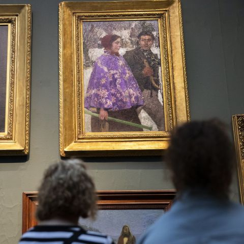 "The painting ""Skaters"" by Gari Melchers (top right) at the Pennsylvania Academy of the Fine Arts is a near twin to one looted by Nazis and recently recovered by the FBI at an upstate New York museum. / Image: Heather Khalifa (Philadelphia Inquirer)"