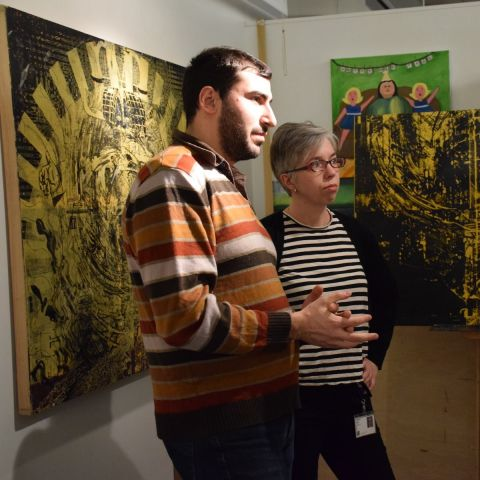 PAFA Illustration Chair Jessica Abel with M. Adil Ozturk (MFA '18) during this year's Open Studio Night.