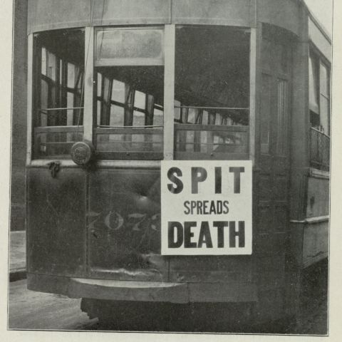 An anti-spitting sign posted on streetcar in Philadelphia, October 1918.Credit: Historical Medical Library of The College of Physicians of Philadelphia