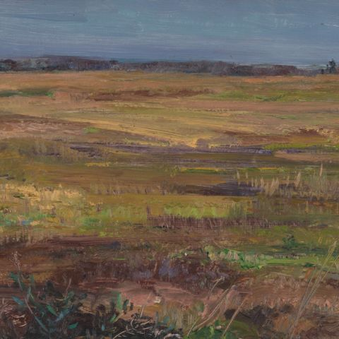 "Louis B. Sloan, ""Untitled [Field landscape with narrow sky]"""
